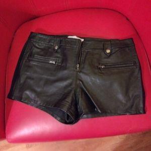 PU leather black shorts